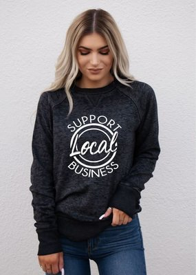 "Ocean & 7th Black ""Support Local Business"" Crew (S-3XL)"