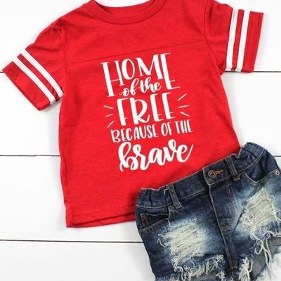 """Glittering South Toddler Red """"Home of the Free"""" Tee (2T-6T)"""