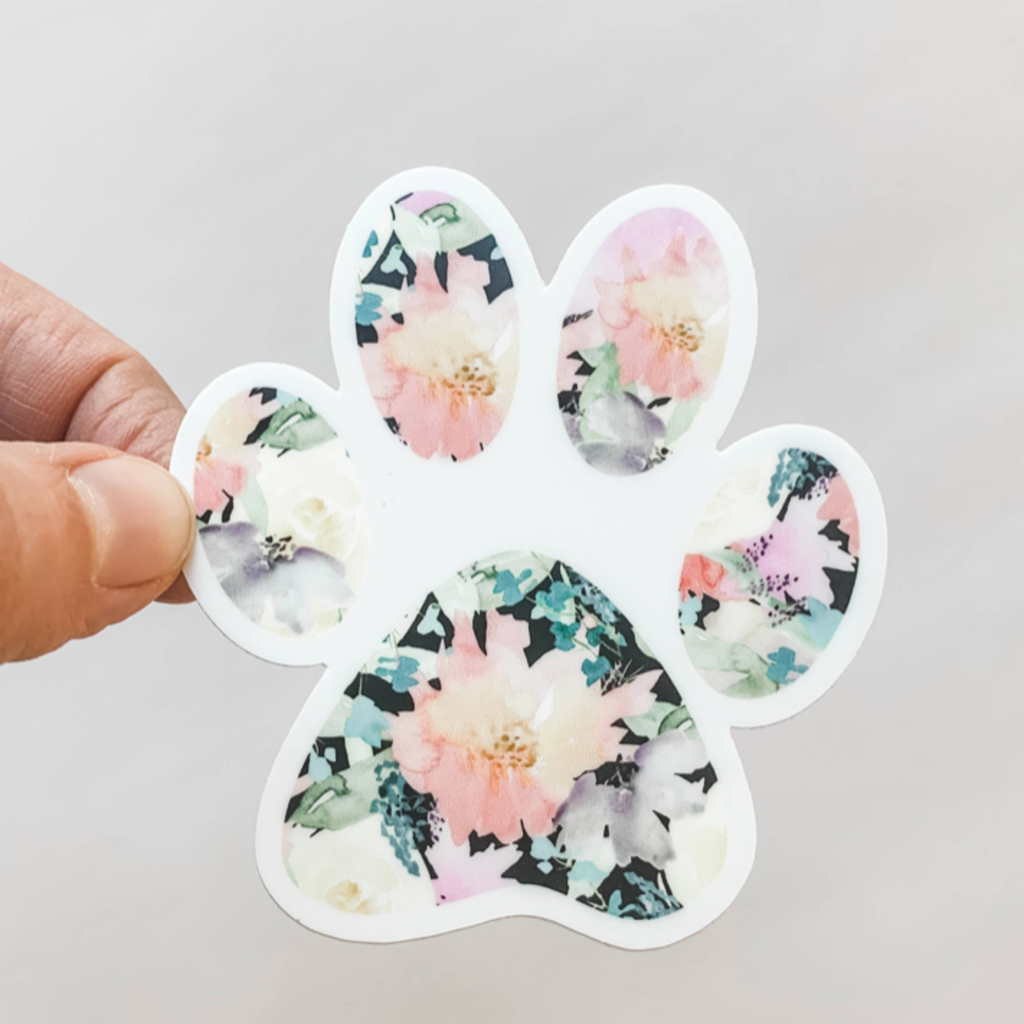 Wildflower Paper Co Floral Paw Print Decal Sticker