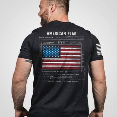 NINE LINE Nine Line - Black American Flag Schematic Tee