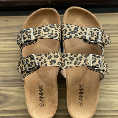 Let's See Style Leopard Double Strap Sandals