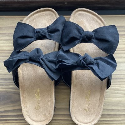 Let's See Style Black Bow Sandals