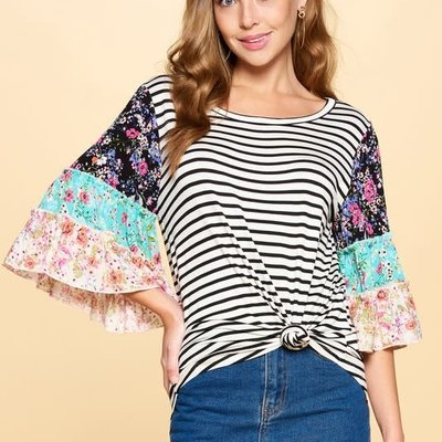Oddi Black Stripe Tiered Bell Sleeve Top (S-3XL)