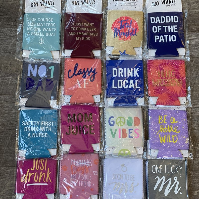 About Face Designs Short Koozies (5 FUN Phrases)