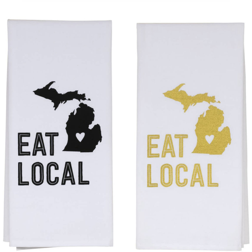 About Face Designs Eat Local Towel (Gold or Black)