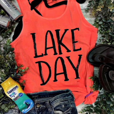 TTT Lake Day Neon Orange Tank (S-3XL)