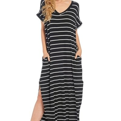 Reborn J Black Oversized Summer Stripe Dress