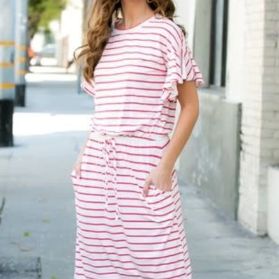Reborn J Ivory and Coral Striped Pocket Dress (S-XL)
