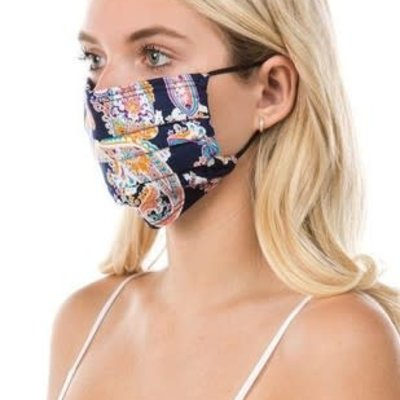 Clothing of America Adult Navy Paisley Mask (Not Medical Grade)