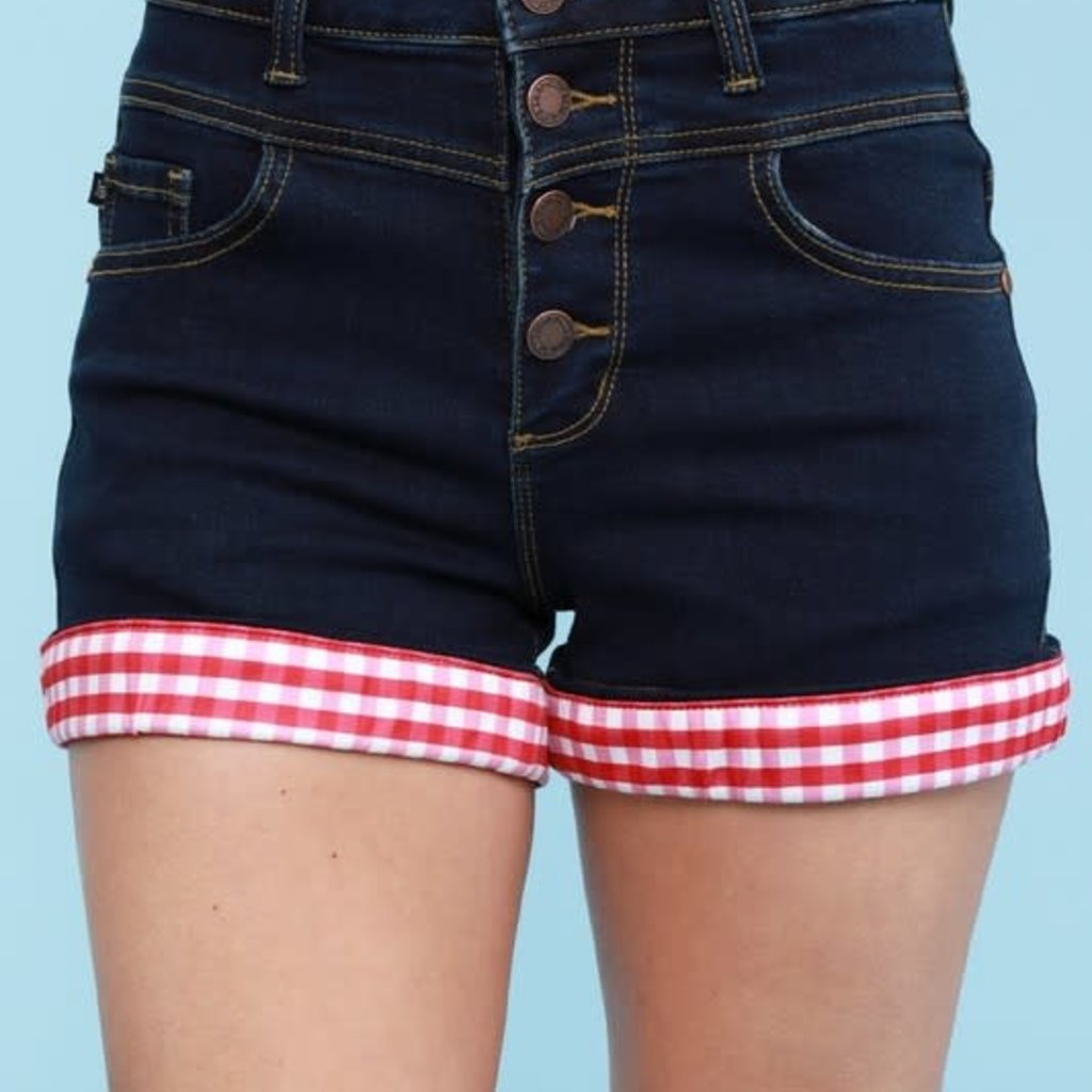 Judy Blue Judy Blue Red Gingham Cuff Shorts (S-3XL)