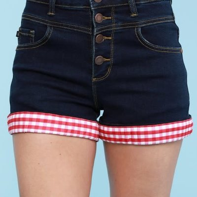 Judy Blue Judy Blue Red Gingham Cuff Shorts (3XL)