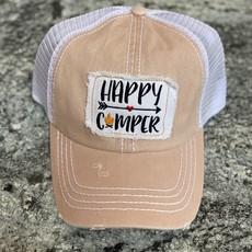 Fashion City Peach Happy Camper Vintage Trucker Hat