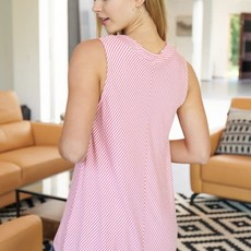 White Birch Pink White Striped V-Neck Tank (S-XL)