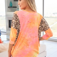 White Birch Neon Orange and Pink Leopard Tie Dye Top (S-XL)
