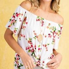 143  Story Ivory Floral Off Shoulder Button Top (S-L)