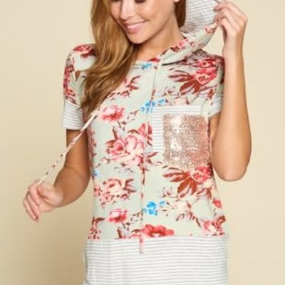 Vanilla Bay Sage Floral Sequin Pocket Knit Hoodie (S-L)