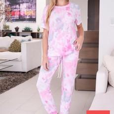 White Birch Pink Tie Dye Lounge Set BOTTOMS (S-3XL)