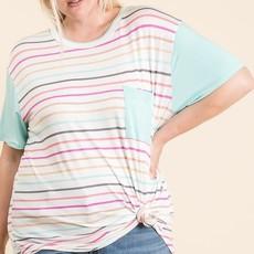 Reborn J Mint Stripe Pocket Top (S-3XL)