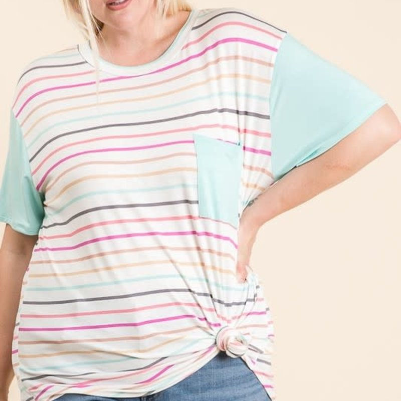 Reborn J Mint Stripe Pocket Top (S-3XL)