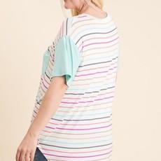 Reborn J Mint Stripe Pocket Top (1XL-3XL)