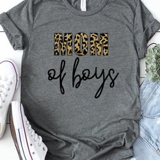 Kissed Apparel Gray Mom of Boys Leopard Tee (S & 3XL Only)