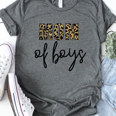 Kissed Apparel Gray Mom of Boys Leopard Tee (2XL and 3XL)