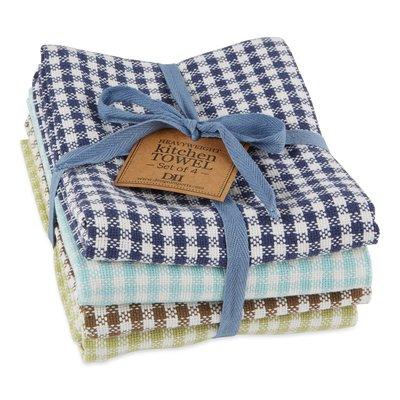 Design Imports Lake Checks Heavyweight Dish Towel Set of 4