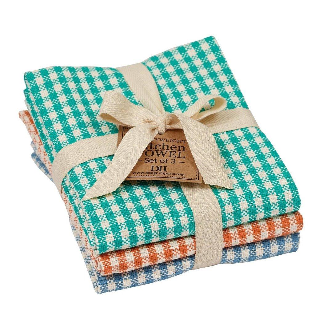 Design Imports Camp Checks Dish Towel Set of 3