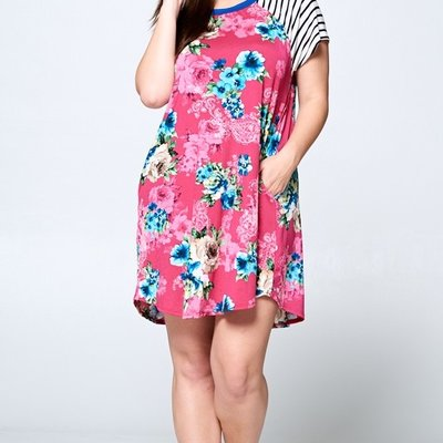 Emerald Floral Printed Swing Dress with Pockets (S-3XL)