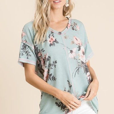 Vanilla Bay Dusty Blue Floral Tee with Pink Stitching (S-3XL)