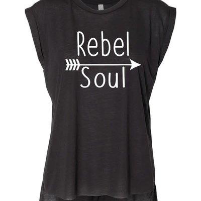 Ocean & 7th Rebel Soul Black Rolled Cuff Tank (S-XL)