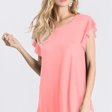 Heimish USA Coral OR Blue Ruffled Sleeve Top (S-L)