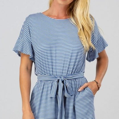 trend notes Blue Stripe Open Back Romper (S-L)