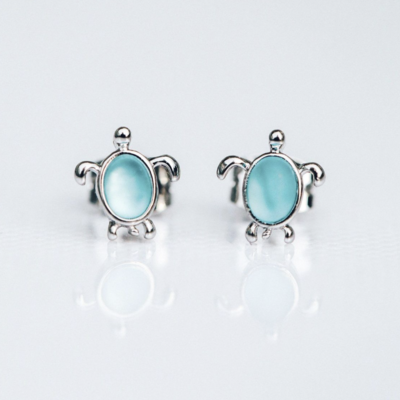 Puravida Pura Vida Sterling Silver Turtle Earrings