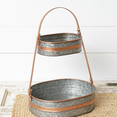Audrey's Galvanized Two-Tiered Copper Tray