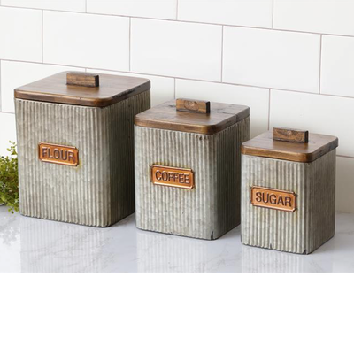 Audrey's Galvanized Canister Set - Flour, Coffee, Sugar