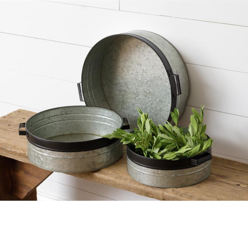 Audrey's Galvanized Metal Trays with Handles (3 Sizes)