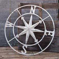 """Pd Home & Garden White Compass - 30"""""""