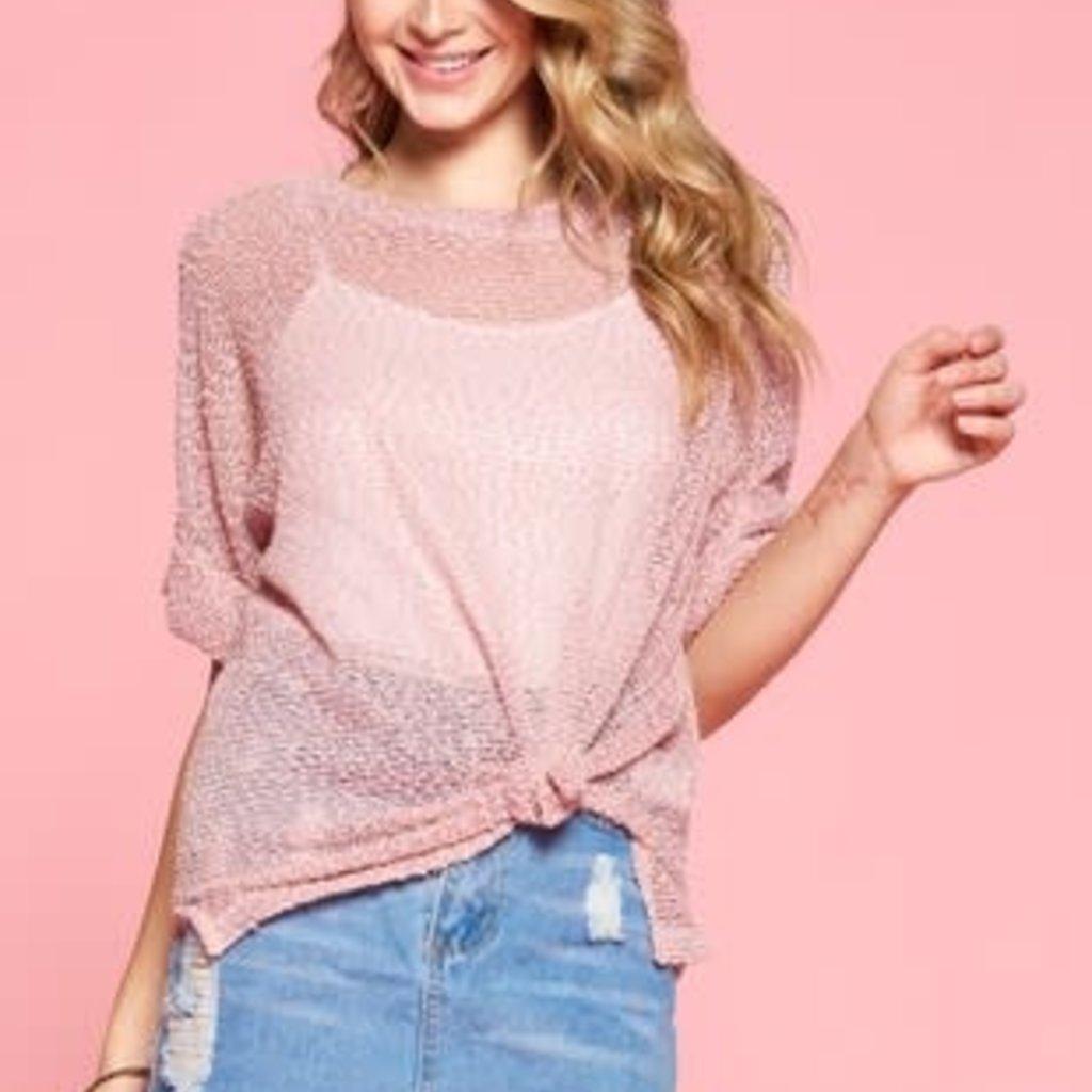 Oddi Pink Netted Knit Top (S-3XL)