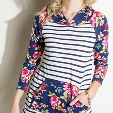Clothing of America Summer Navy Floral Hoodie (S-3XL)