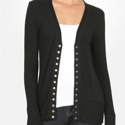 Zenana Black Snap Button Cardigan (S-XL)