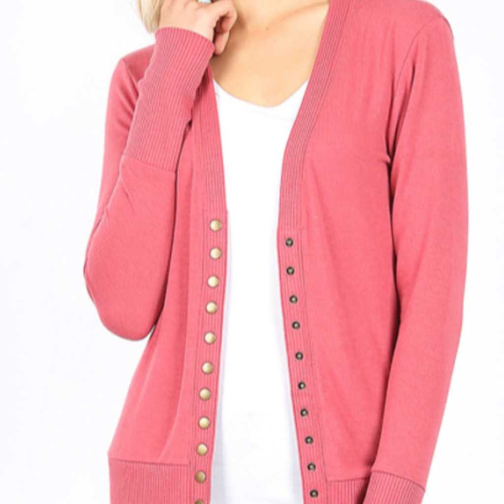 Zenana Rose Snap Button Cardigan (S-3XL)