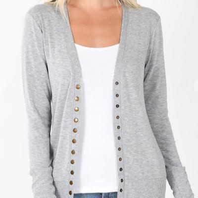 Zenana Heathered Gray Snap Button Cardigan (1XL-3XL)
