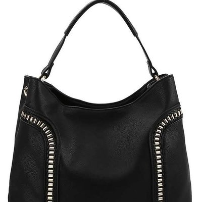 Applejuice Large Black Hobo Bag with Metal Accents