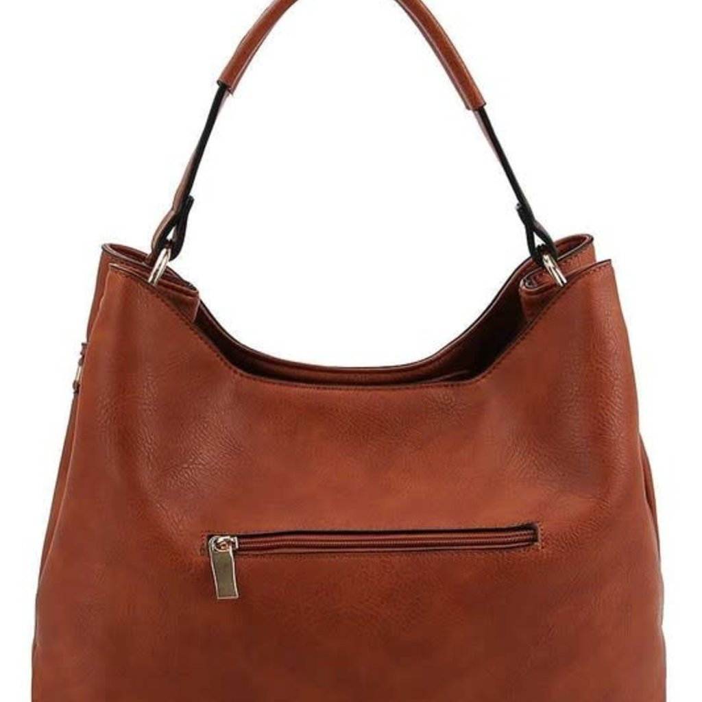 Applejuice Large Brown Hobo Bag with Metal Accents