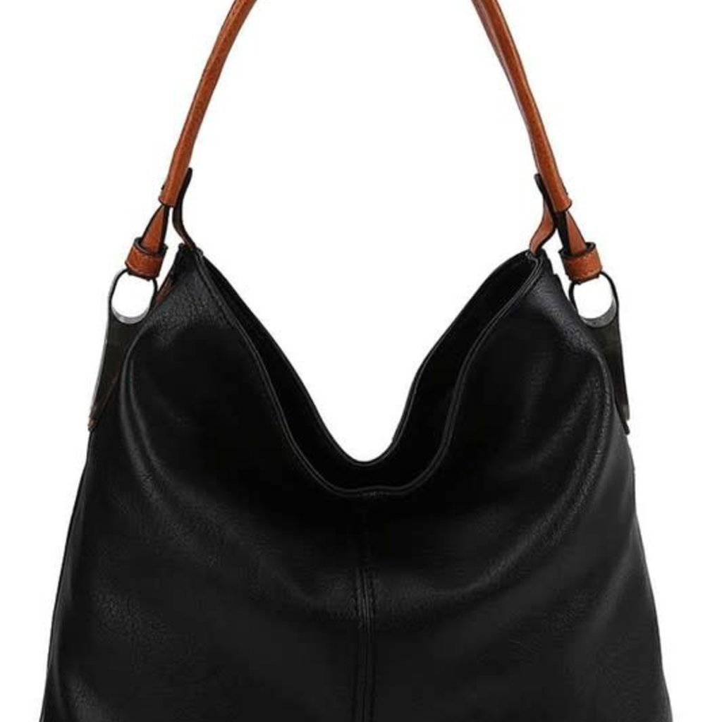 Applejuice Modern Black Handbag with Brown Strap