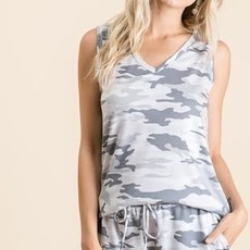 Vanilla Bay Grey Camo Lounge V-Neck TANK (S-3XL)