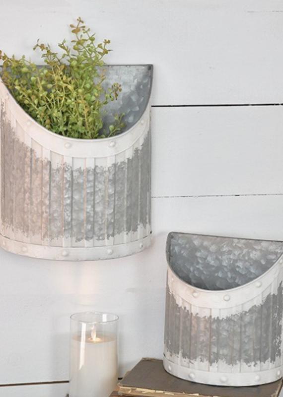 Pd Home & Garden Tin White Wall Pockets (2 Sizes)