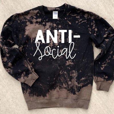 D&E Tees Anti-Social Bleached Crew Sweatshirt (S-3XL)