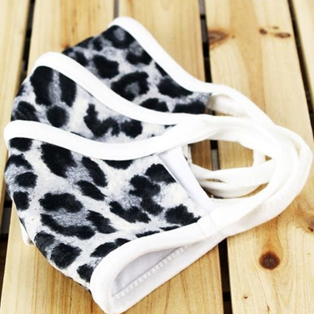 Clothing of America Kids White Leopard Mask (Not Medical Grade)